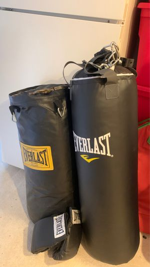 Two punching bags with chain and training gloves for Sale in Centennial, CO