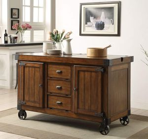 Antique Brown Finish Kitchen Cart Cabinet Island Serving 3 Drawers / gabeta cocina movible for Sale in Moreno Valley, CA