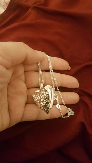 925 sterling silver heart photo frame pendant necklace for Sale in Riverside, CA