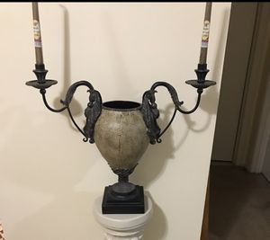 """Still available stunning centerpiece heavy iron 20""""candle holder vase free candle pick up Gaithersburg md20877 for Sale in Gaithersburg, MD"""