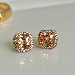 Rose gold plated champagne square studs for Sale in Silver Spring, MD