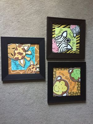Monkey giraffe zebra Nursery pictures art decor for Sale in Huntersville, NC
