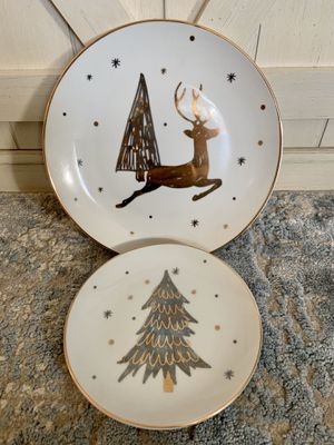 Better Homes & Gardens Christmas Gold & Silver Reindeer Plate and Tree Plate. for Sale in Wichita, KS