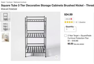 3 Tier Decorative Storage Cabinets, Brushed Nickel for Sale in Los Angeles, CA