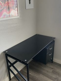 Black Tempered Glass Office Desk W/ 2-Drawer for Sale in Hawthorne,  CA
