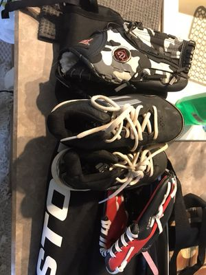 Kids baseball set bag baseball bat two gloves and Shoes size 12 for Sale in Annandale, VA