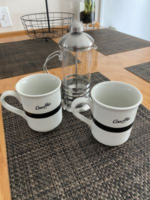 Mugs and French Coffee Press for Sale in Newark, NJ