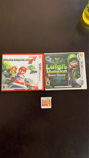 Mariokart 7, Luigi's mansion dark moon , Pokémon sun for Sale in Corona, CA