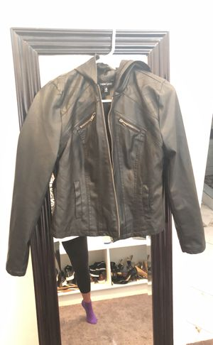 Black Leather Jacket with Hoodie! for Sale in Riverton, UT