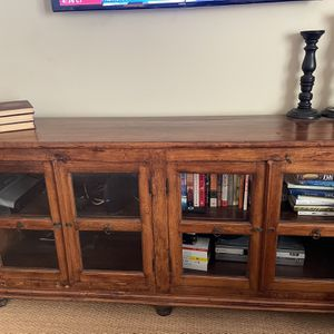 Solid wood media center/ Sideboard with glass doors for Sale in Newport Beach, CA