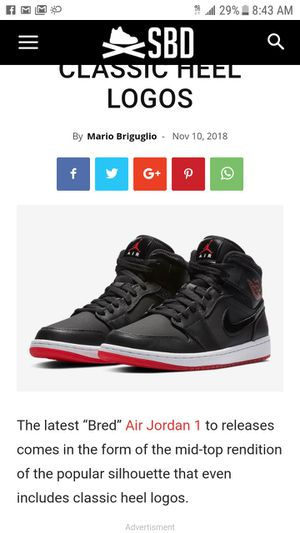 """Air Jordan 1 mid """"BRED"""" latest ones for Sale in Dallas, TX"""