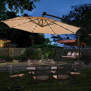 10 ft. Steel Market Hanging Solar LED Patio Umbrella with Base in Beige for Sale in Rowland Heights, CA