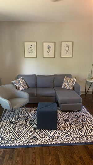 Living room bundle! Couch, chair, ottoman, rug, wall art, pillows, curtains (without rod), tray, canisters and vase included for Sale in Euharlee, GA