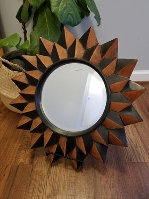 Two Tone Solid Wood Carved Sunburst Framed Mirror for Sale in St. Louis, MO