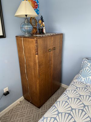 Antiques armoire closet; secretary desk; dining table with a hidden ironing board; chest with drawers for Sale in Apex, NC