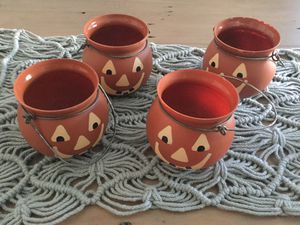 Glass Pumpkin Candle Holders set of 4 for Sale in Orange, CA