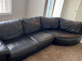 IKEA Vreta Black Leather Sectional Sofa Original Price $1,499 for Sale in Houston,  TX