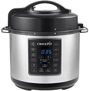 Crock Pot 6 Quart 8 in 1 Multi Use Express Crock Programmable Pressure Cooker, Slow Cooker, Sauté & Steamer | Stainless Steel (SCCPPC600 V1) for Sale in Pasadena, TX