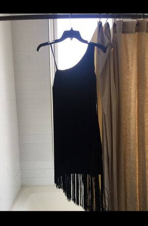 Size 6 black Aidan Mattox designer fringe evening dress for Sale in Brooklyn, NY