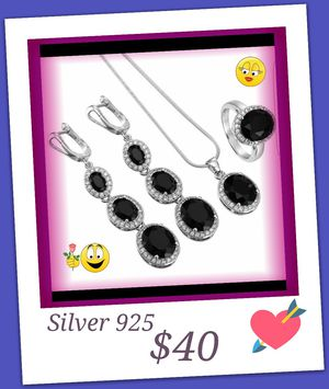 ACCESSORIES SET, SILVER 925 WITH SAPPHIRE BLACK, RING SIZE 8 ( BRAND NEW) for Sale in Brandon, FL