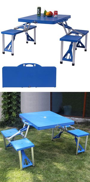 New $50 Picnic Table, Portable Folding Camping Table Bench Set for Camping Hiking 4 Seats for Sale in Whittier, CA