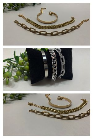 Punk Style 3pcs/Set Curb Cuban Multilayer Link chain bracelet, Gold and Silver Color (2 Sets) for Sale in Santa Cruz, CA