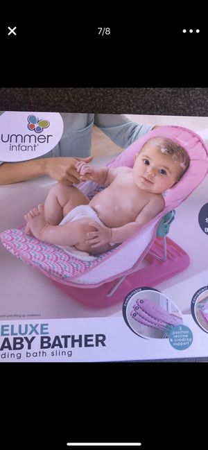 Brand new baby bather, new baby blankets, new and used baby clothes and used baby swing. for Sale in Salt Lake City, UT
