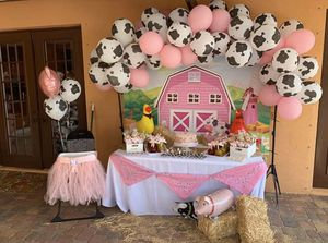 Pink farmhouse backdrop, hanker-chiefs, and hay stacks for Sale in Port St. Lucie, FL