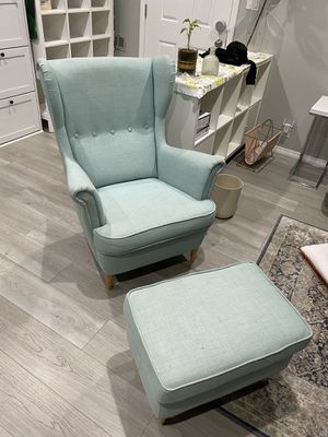 Ikea STRANDMON Fabric Wing chair with Fabric ottomans for Sale in Arcadia, CA