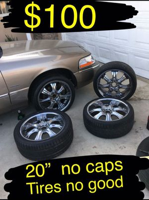 """20"""" chrome rims. Universal 5 lugs Will fit all 5 lug cars except for probly. BMW. Mercedes. Audi Tire aré no good for Sale in Ontario, CA"""
