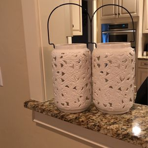 Beautiful Ivory Ceramic Candle Holders for Sale in Olympia, WA