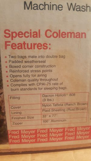 2 Coleman sleeping bags, will zip together to make one large bag. for Sale in South Farmingdale, NY