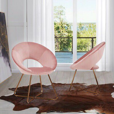 Modern Chair Velvet Cushion in Salmon Pink Perfect Home Office Furniture