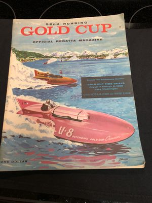 Gold cup regarding 1859 program August 4, 1959 Lake Washington Seafair for Sale in Bellevue, WA