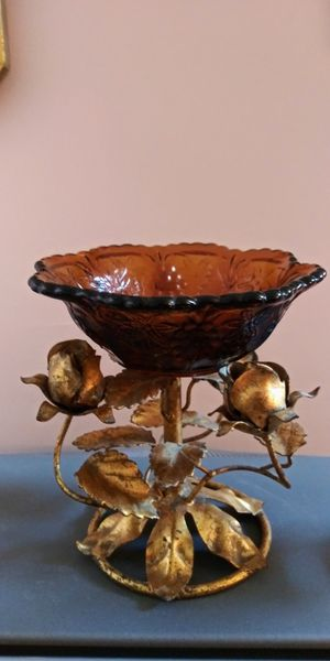 Mid-century Vase - Amber Glass with bronze roses from Italy for Sale in Pompano Beach, FL