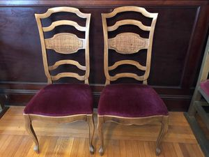 Set of 2 Kitchen Dining Chairs Velvet Seat With Solid Wood Frame French Provincial / Country Style for Sale in Bellingham, MA