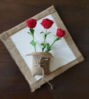 Decorative burlap sack wall vase flower handmade for Sale in Monrovia, CA