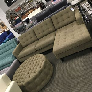 Empress sectional sofa and ottoman oatmeal for Sale in Rockville, MD