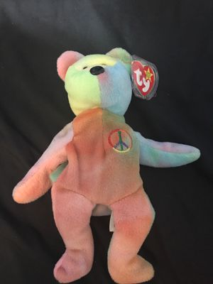 """Very Rare 1996 Peace Bear Beanie Baby With Signature On Tush Tag Extremely Rare Misspelled Tag """"Oriiginal"""" for Sale in Greenville, SC"""