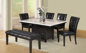 6pc Dining table W/ Faux Marble Top & Storage Base Black Finish for Sale in Puyallup, WA