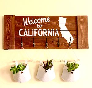California sign wooden wall decor boho chic farmhouse decor rustic decor cotton plant sacks succulents house plants indoor plant outdoor plant for Sale in Covina, CA