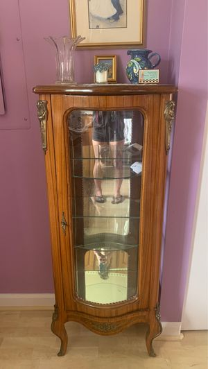 Antique oak wood china cabinet made in Italy for Sale in Medford, MA