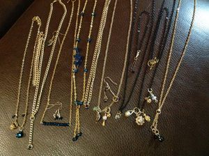 Lot of 30 Pieces New Jewelry, gold tone and black with CZ, jet, faux pearl and Faceted Sapphire color stones. Earrings, bracelets, necklaces with mul for Sale in Poulsbo, WA