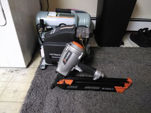Brand new Hitachi air compressor and paslode 30° nail gun for Sale in Quincy, MA