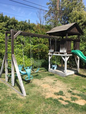 Outdoor swing set and playhouse/fort with slide for Sale in Upland, CA