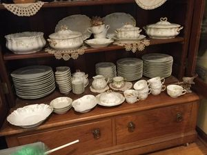 Antique China dishes..green on white ...made in France. for Sale in Darien, IL