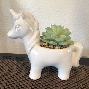 Ceramic Unicorn Figurine Fake Succulent for Sale in San Mateo, CA