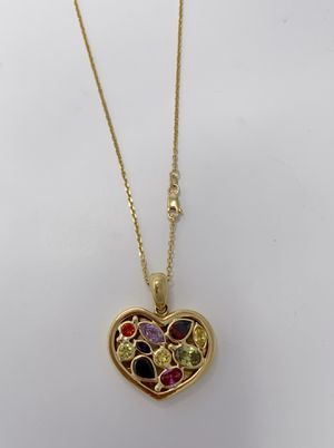 14 Yellow Gold Gemstone Heart Pendant and Chain Set for Sale in Stuart, FL