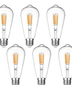 Vintage LED Edison Bulbs Dimmable, Equivalent 60W, Warm White 2700K, Antique LED Filament Bulbs,E26 Medium Base, Clear Glass 6-Pack for Sale in El Monte,  CA