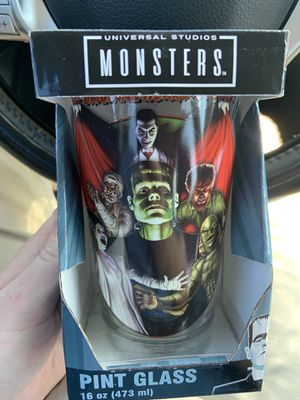 Universal monsters collectible pint glass for Sale in Stuart, FL